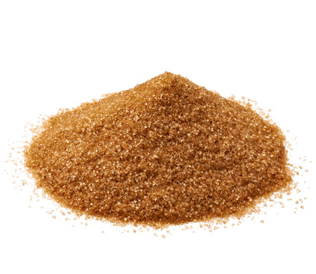 close up of  brown sugar on white background Banco de Imagens