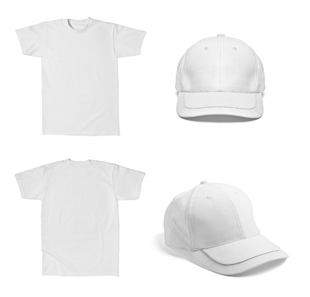 collection of various  white t shirt and  baseball cap template on white background  each one is shot separately photo