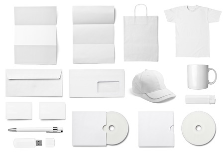 collection of  various white business print templates on white background  each one is shot separately photo