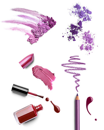 luxury liner: collection of various make up on white background  each one is shot separately Stock Photo