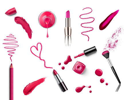 collection of various make up on white background  each one is shot separately Stock Photo