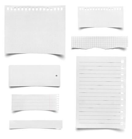 notebook paper background: collection of various pieces of note paper on white background  each one is shot separately