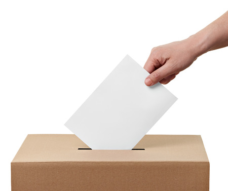 votes: close up of  a ballot box and casting vote on white background