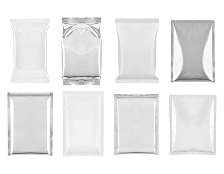 sealed: collection of  various white and aluminum bag and packages on white background  each one is shot separately