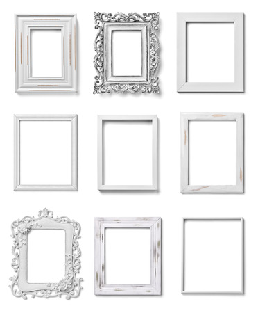 collection of various white wood frames on white background  each one is shot separately photo