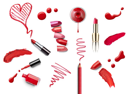 red lip: collection of various make up on white background. each one is shot separately