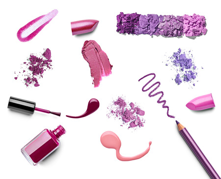 collection of various make up on white background. each one is shot separately photo
