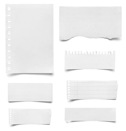 collection of various pieces of note paper on white background. each one is shot separately photo
