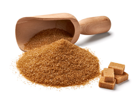 close up of  brown sugar on white background photo