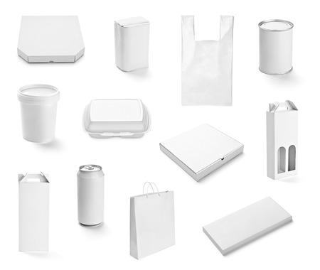 collection of  various white print templates on white background. each one is shot separately photo