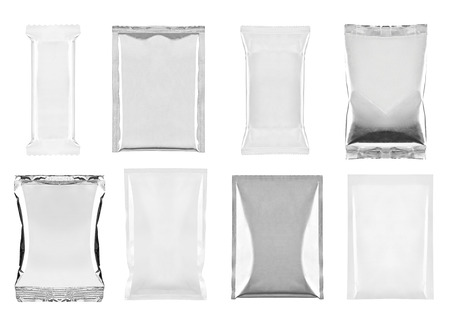 canned food: collection of  various white and aluminum bag and packages on white background. each one is shot separately