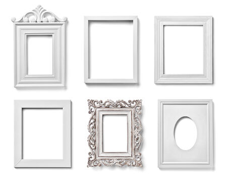 collection of various white wood frames on white background. each one is shot separately photo