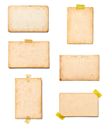 photo paper: collection of various old photos on white background. each one is shot separately