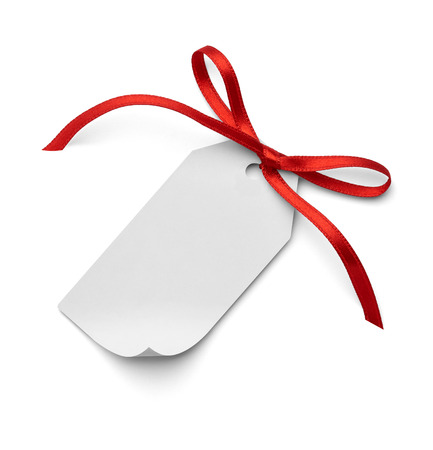 close up of a  note card with ribbon bow on white background photo