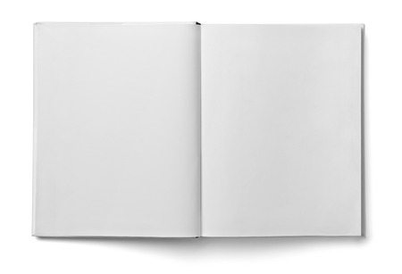 close up of a  blank white  book on white background