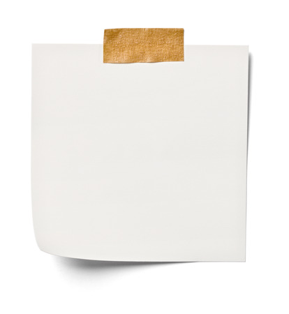 note paper: close up of  white note paper on white background with clipping path Stock Photo