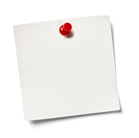 close up of  white note paper on white background with clipping path Stock Photo