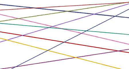 cordage: collection of  various strings on white background. each one is shot separately