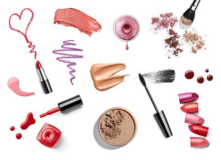 maquillage: collection de divers maquillage sur fond blanc. chacun est tir� s�par�ment