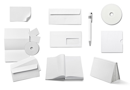 blank book cover: collection of  various white business print templates on white background. each one is shot separately Stock Photo