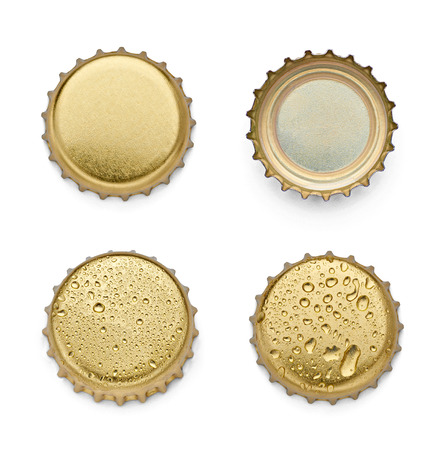 cap: collection of  various bottle caps on white background. each one is shot separately
