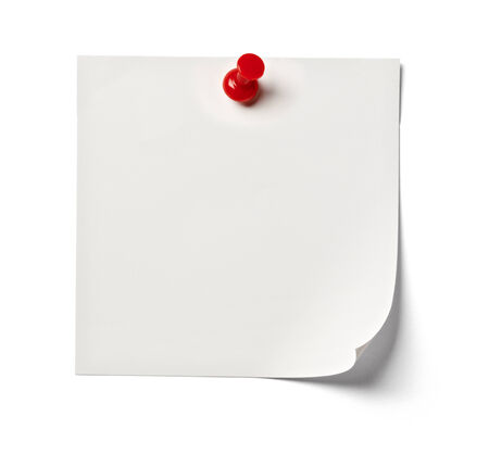paper pin: close up of  white note paper on white background with clipping path Stock Photo