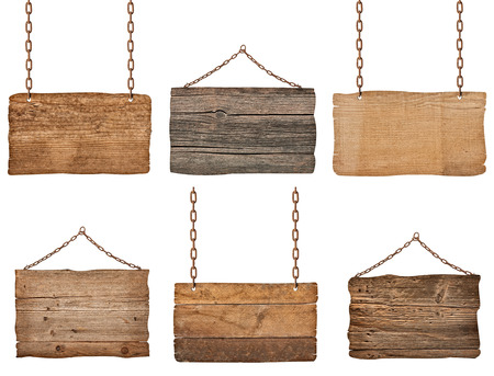 wooden panel: collection of  various wooden signs with chain on white background. each one is shot separately