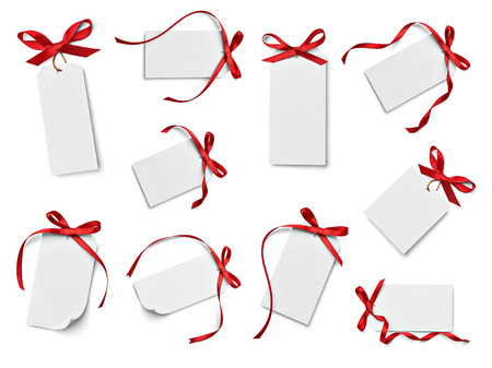 collection of various note card with ribbon bow on white background. each one is shot separately photo