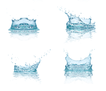 collection of various water splashes on white background. each one is shot separately photo