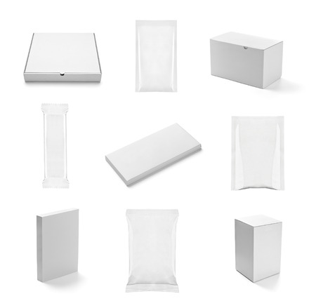 collection of  various white box and packages on white background. each one is shot separately photo