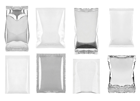 food package: collection of  various white and aluminum bag and packages on white background. each one is shot separately