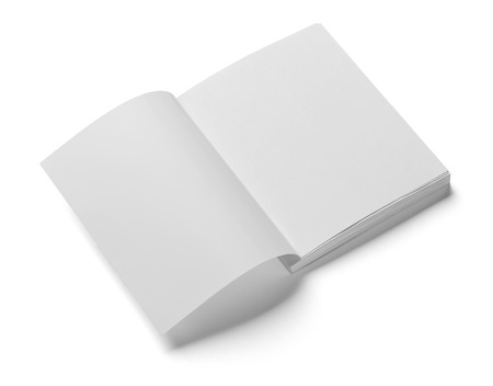 close up of a  blank white  book on white background photo