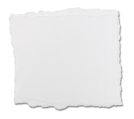 close up of  a white ripped piece of paper on white background photo