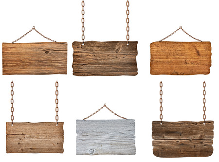 metal plaque: collection of  various wooden signs with chain on white background. each one is shot separately