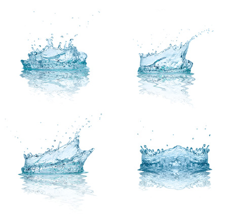 collection of various water splashes on white background. each one is shot separately