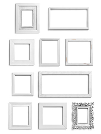 frame wood: collection of various white wood frames on white background. each one is shot separately