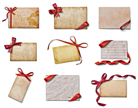 vintage envelope: collection of various note cards with ribbon bow on white background. each one is shot separately Stock Photo