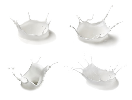collection of  various milk splashes on white background Stock Photo