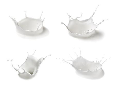 collection of  various milk splashes on white background Archivio Fotografico