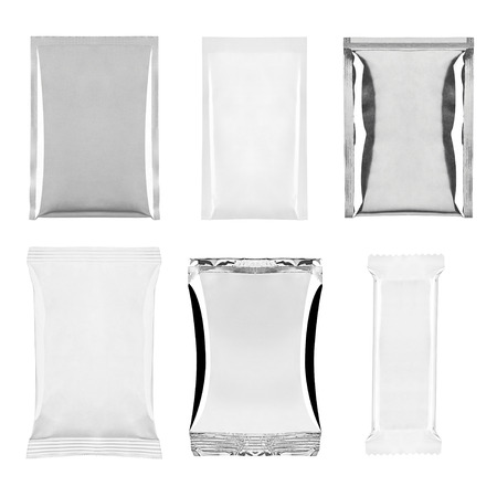 instant noodle: collection of  various white and aluminum bag and packages on white background. each one is shot separately