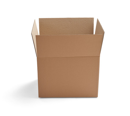 shipped: close up of  a cardboard box on white background
