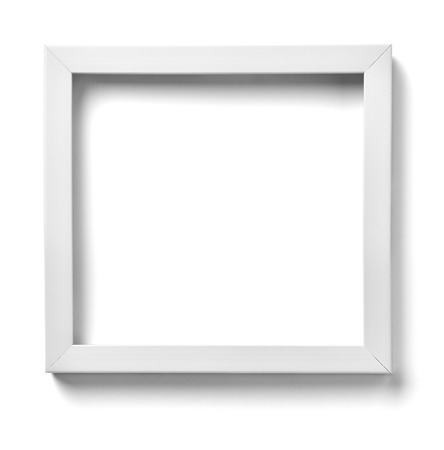 vintage photo frame: close up of  a white wood frame on white background Stock Photo