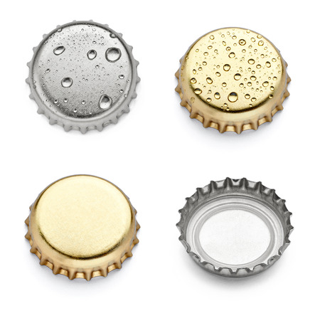 soda bottle: collection of  various bottle caps on white background. each one is shot separately