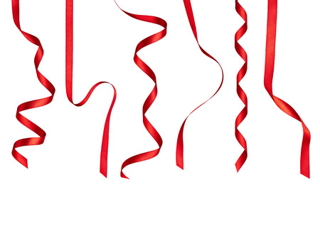 separately: collection of  various red ribbon pieces on white background. each one is shot separately