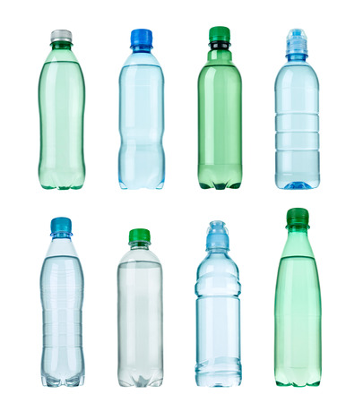 separately: collection of  various plastic bottles on white background. each one is shot separately