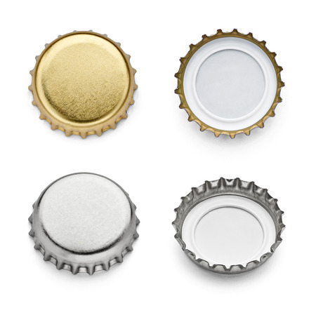 separately: collection of  various bottle caps on white background. each one is shot separately