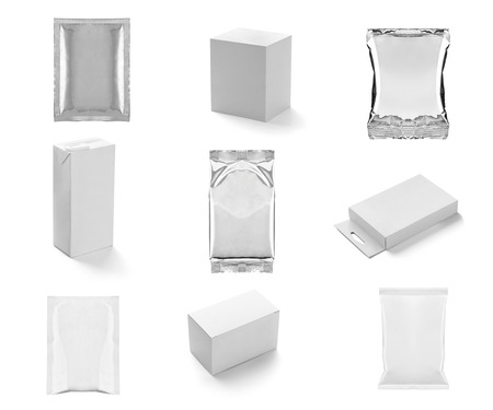 plastic box: collection of  various white box and packages on white background. each one is shot separately