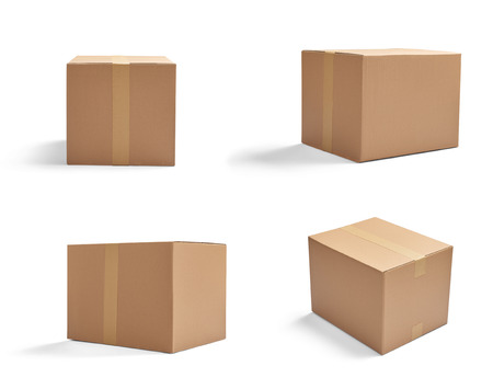 post box: collection of  various cardboard boxes on white background Stock Photo