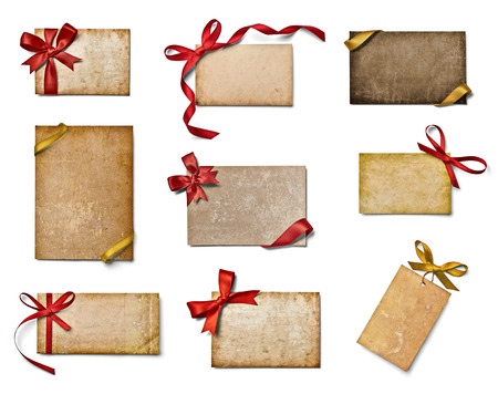 separately: collection of various note cards with ribbon bow on white background. each one is shot separately Stock Photo