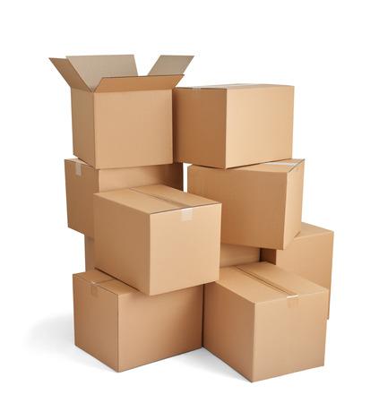 Nahaufnahme von einem Stapel von Kartons auf weißem Hintergrund Standard-Bild - 36639087